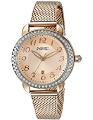 August Steiner Womens AS8192RG Rose Gold Crystal Accented Quartz Watch with Rose Gold Dial and Rose Gold Bracelet