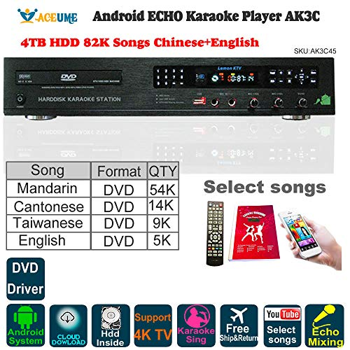 - 4TB HDD 87K Chinese,English Songs,Android Karaoke Player/Jukebox,Cloud download,DVD Driver,Microphone Port, ECHO mixing,Watch TV,KODI,YouTube Songs sing 卡拉OK點歌機,安卓播放器,云下載,國語,粵語,英語