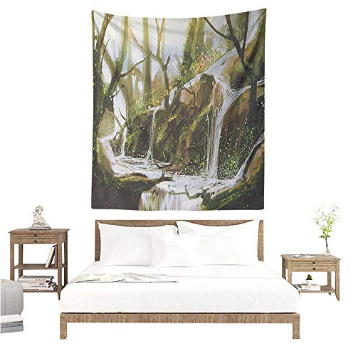 WilliamsDecor Smooth and Smooth Tapestry Fantasy Cascade Stream Flows into The Creek in a Realistic Way Secret Paradise Paint Print 40W x 60L INCH Suitable for Bedroom Living Room -