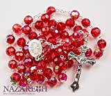 Catholic Rosary With Red Crystal Beads Handmade Necklace Virgin Mary & Crucifix From Jerusalem