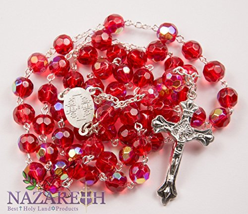 Catholic Rosary With Red Crystal Beads Handmade Necklace Virgin Mary & Crucifix From Jerusalem by Holy Land Gifts