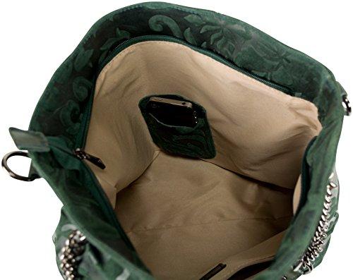 Leder Shopper FRANZI Dunkelgrün aus Leder Henkeltasche Handtasche grün, Made in Italy