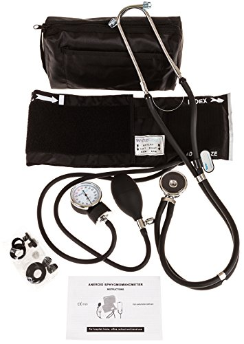 (White Coat Deluxe Aneroid Sphygmomanometer Professional Blood Pressure Cuff Monitor with Adult Sized Black Cuff Plus Sprague Rappaport Stethoscope and Accessory Kit)