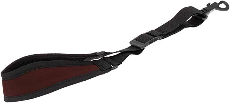 LONGTAI Saxophone Neck Strap with Thick Soft Padded,Black PU Leather,Metal Hook for Baritone Alto Tenor Soprano Sax