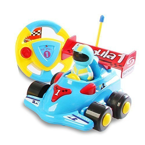 Cartoon R/c Formula Race Car Radio Control Toy for Toddlers Assorted Colors Blue -