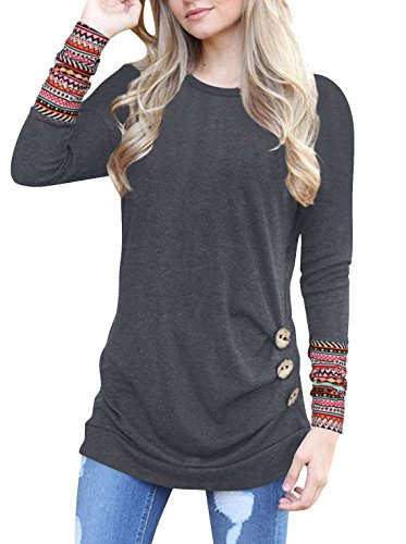 Anicco Womens Long Sleeve Casual Round Neck Loose Tunic Top Blouse T-Shirt