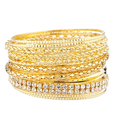 Lux Accessories Pave Braided Mesh Multi Bangle Bracelet Set