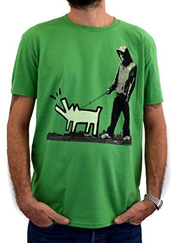 "FACES T-shirt Uomo Street Art ""BANKSY Keith Haring Dog"" Stampa Serigrafica Manuale ad Acqua"