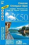UK50-54 Chiemsee, Chiemgauer Alpen: Traunstein, Wasserburg a.Inn, Haag i.OB, Simssee, Kaiserwinkl (UK50 Umgebungskarte 1:50000 Bayern Topographische Karte Freizeitkarte Wanderkarte)