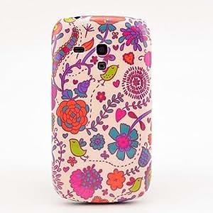 CL - Flores rojas y aves del patrón del caso duro para Samsung Galaxy S3 I8190 Mini