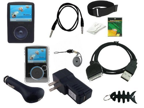 iShoppingdeals- 11 items Premium combo for Sandisk Sansa Fuze 2GB, 4GB, 8GB Series (includes: Clear Crystal Hard Case +Black Silicone Skin Case + Universal Car Charger+ Universal Wall Charger + usb data cable + Adjustable Armband +Belt Clip +Screen Protector +3.5mm~3.5mm Auxiliary cable +Lanyard +Fishbone Keychain)