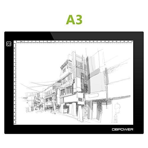 DBPOWER A3 Dimmare Leuchtkästen zum Zeichnen, Leuchtrahmen Posterlight LED einseitig (5V, 5.4W, 3600Lux)
