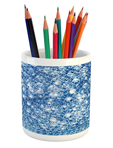 Diamonds Pencil Pen Holder by Lunarable, Various Diamonds in Storm Abstract Style Blue Color Vivid Rocks Crystal Love Theme Image, Printed Ceramic Pencil Pen Holder for Desk Office Accessory, Blue (Patios Blue And Pools Crystal)
