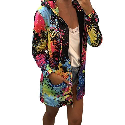 UONQD Women Tie dyeing Print Coat Outwear Sweatshirt Hooded Jacket Overcoat (Medium,Black)