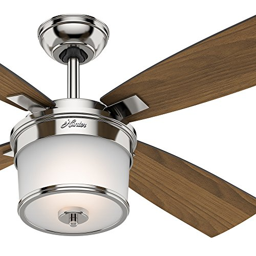 Hunter 52in Polished Nickel Finish Contemporary Ceiling Fan light kit Renewed