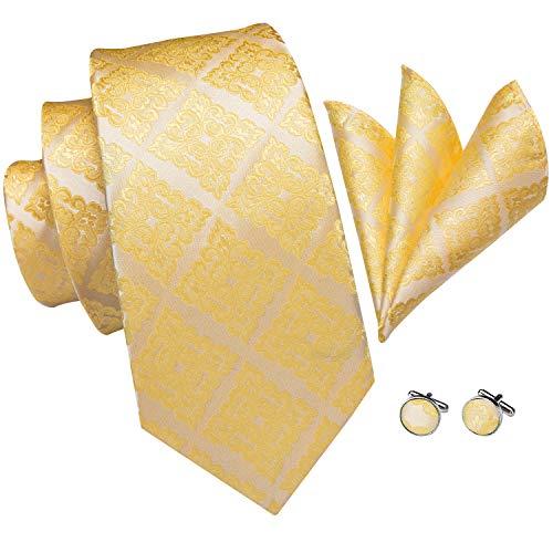 Hi-Tie Men Gold Check Floral Tie Handkerchief Necktie with Cufflinks and Pocket Square Tie Set