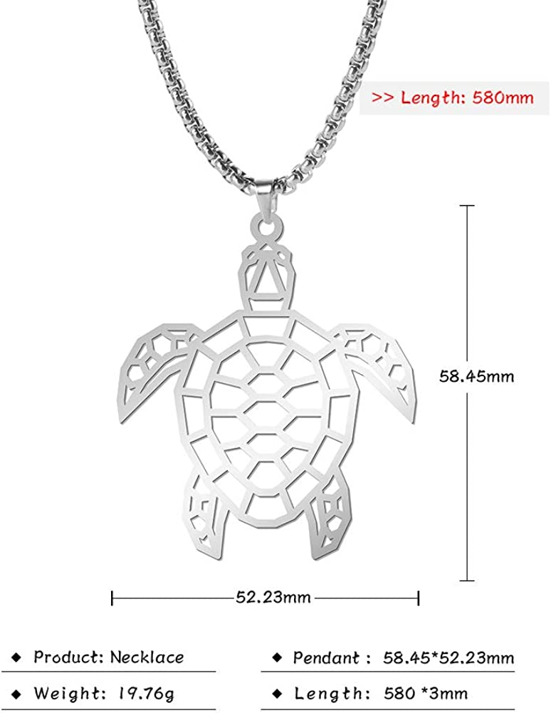 EUEAVAN Sea Turtle Hollow Stainless Steel Silver Tone Necklace Metal Craft Pendant Jewelry for Men women