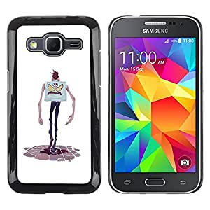 Shell-Star Arte & diseño plástico duro Fundas Cover Cubre Hard Case Cover para Samsung Galaxy Core Prime / SM-G360 ( Cartoon Character Hands Skinny Man Skull )