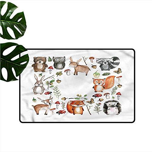 Caroline Walnut - Interesting Doormat Cartoon Deer Bear Walnut Nursery Non-Slip Door mat pad Machine can be Washed W35 xL59