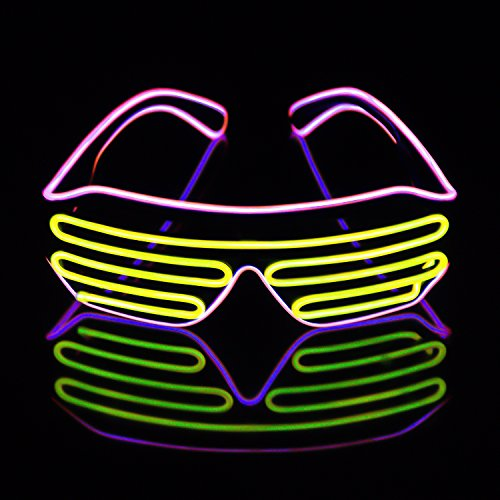 Light Up EL Wire Neon Shutter Glasses Flashing LED Rave Sunglasses for 80s, EDM, Parties Decorations(Pink+Yellow)