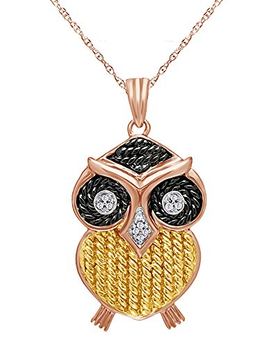 wishrocks Mothers Gift Round Cut White Natural Diamond Accent Owl Pendant Necklace in 14K Rose Gold Over Sterling Silver