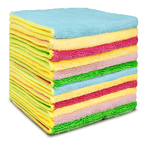 "Microfiber Kitchen Cleaning Towels and DishCloths, EXEGO Reusable Dish Rags Cleaning Cloth Set for Glass Microfiber Cleaning Cloths Multifunctional Purpose for House Kitchen 12 Pack,Size 11.4""x6.5"""