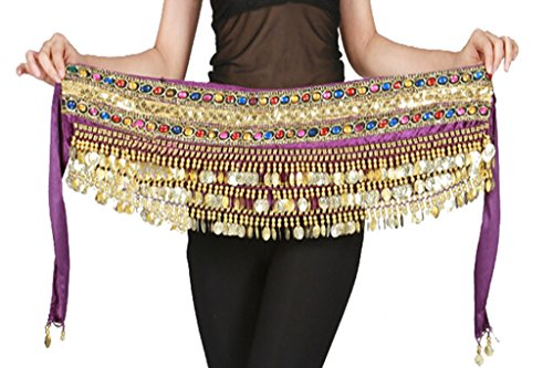 150cm Profession Flannel Belly Dance Hip Scarf with Gold Coins Colorful Gem Belt