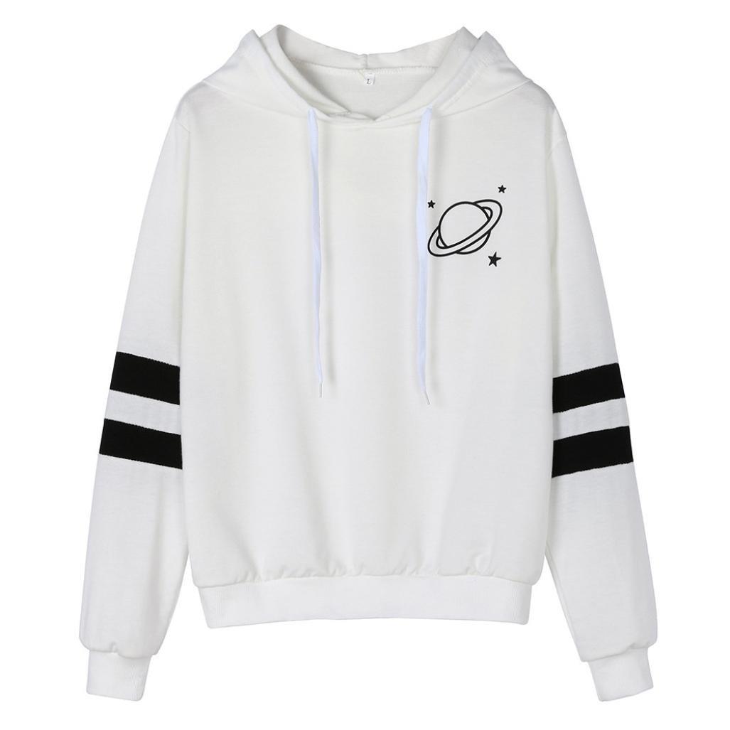 BCDshop Womens Sweatshirt Hoodie Long Sleeve Causal Saturn Star Print Tops Blouse (White, M)