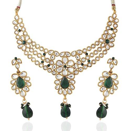 Variation Green Kundan Necklace Set For Women – VD14000