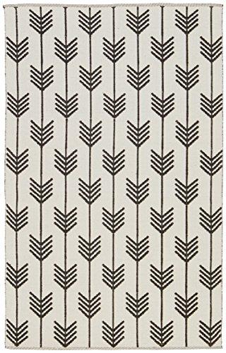 Rivet Arrow Wool Rug, 5' x 8', Black & Ivory