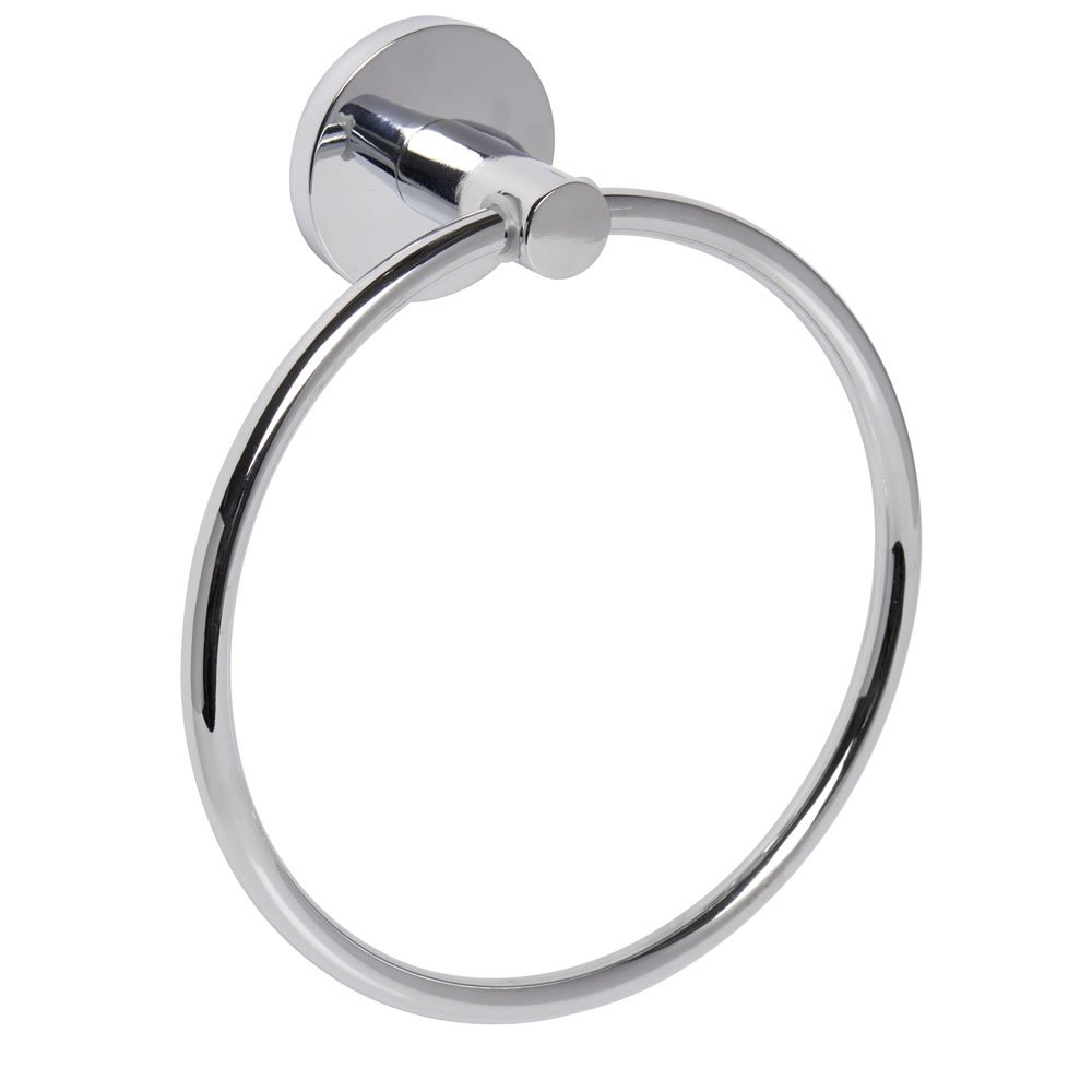 Home Treats Polished Chrome Bathroom Towel Ring Round