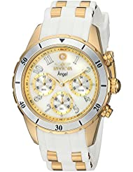Invicta Womens Angel Quartz Stainless Steel and Silicone Casual Watch, Color:White (Model: 24901)