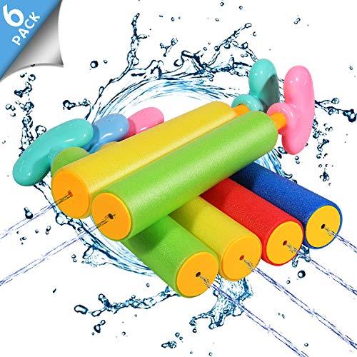 Biulotter 6 Pack Foam Water Blaster Set Pool Toys Water Guns for Kids Water Blaster Gun Shooter Swimming Pool Outdoor Beach Play Game