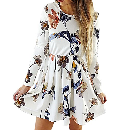 Pleated Sheath Dress Silk (HODOD Fashion Spring Women's Beige Long Sleeves Floral Pleated Dress Ladies Evening Party Dress S)