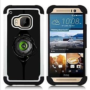For HTC ONE M9 - cool robot eye peep black green spy H????brido Protecci????n completa dual de alto impacto Capa Funda - God Garden -