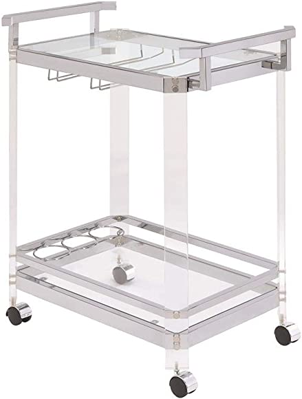 Coaster Home Furnishings 902589 3-Wine-Rack Serving Cart Chrome