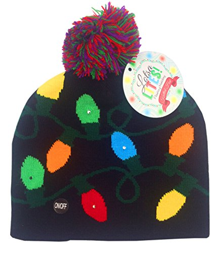 Light Up Christmas Hat (Lotsa Lites Flashing Holiday Knitted Hat Light Up Beanie (Black))