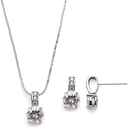 Silver Cubic Zirconia Round and Small Round CZ Pendant Earring Necklace Set,