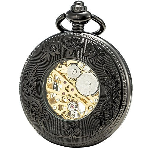 SEWOR Grace Koi Skeleton Pocket Watch Black Mechanical Hand Wind with Leather Gift Box (Black) by SEWOR (Image #1)'