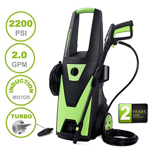 Extra Motor (PowRyte Elite Electric Pressure Washer, 2200PSI 2.0GPM Power Washer with Extra Turbo Nozzle, Induction Motor)