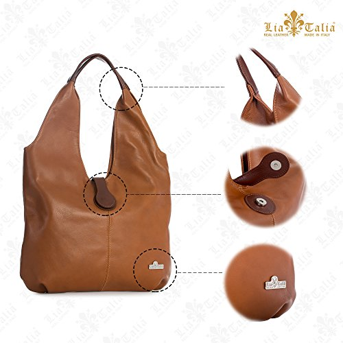 Bag Shoulder Tote Deep Italian Brown Boho Leather Soft Zoe Hobo Shopper Genuine Liatalia Large Red Trim wan40q14v
