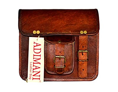 ADIMANI Vintage Handmade Travel Distressed Satchel Leather Messenger bag for women Size 9L x 7H inches
