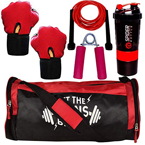 5 O' CLOCK SPORTS Polyester Combo of Let The Gains Begin Gym Bag, Gloves, Spider Shaker, Skipping Rope and Hand Gripper Fitness Kit (Red)
