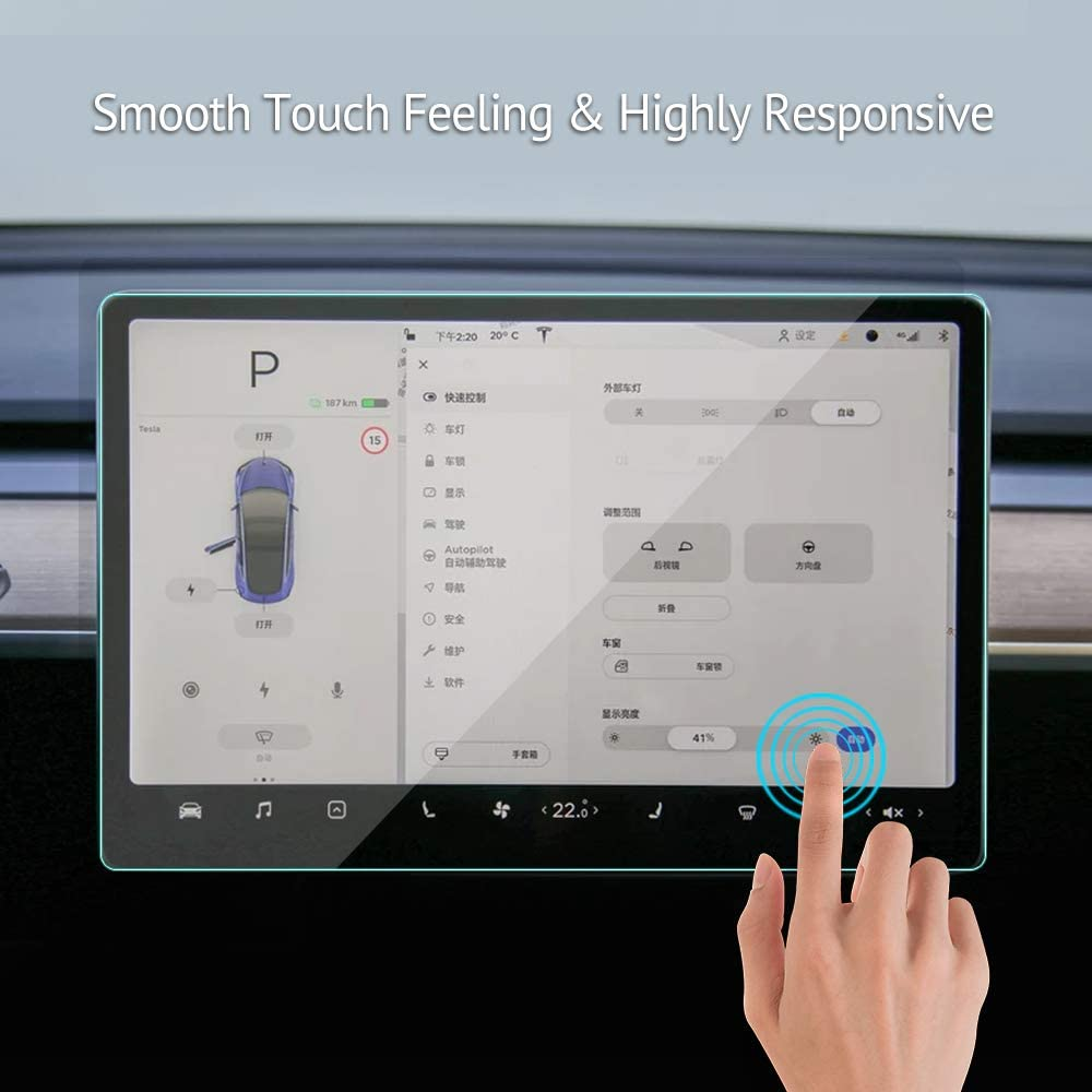 Model 3 Model Y 15 Center Control Touchscreen Tempered Glass Car Navigation Touch Screen Protector Tempered Glass for Tesla P50 P65 P80 P80D Accessories 9H Anti-Scratch