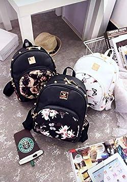 44726fbd81 Puyang Small Daypack Casual Waterproof Backpack for Women Girls Vintage  Rivet PU Leather Travel Bag Rucksack Floral Printed (Flower) P1 SJB002P1
