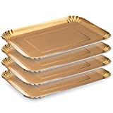 Laura Stein Rectangular Gold Board Trays Disposable Serving Party Platters 9'' x 13'' Pack of