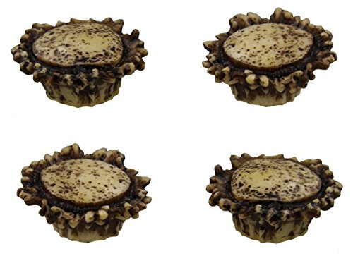 Antler Pull Cabinet - Old River Antler Drawer / Cabinet Knobs (4 Pack) - 2 Sizes of Screws and Washers Included
