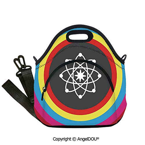 AngelDOU Science Decor Lunch Bag with Adjustable Shoulder Strap Atom Model with Colorful Circles Molecule Chemistry Biology Physics Lab Orbit for Women Kids Baby Girls.12.6x12.6x6.3(inch)