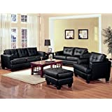 Coaster Home Furnishings Samuel Living Room Set with Sofa, Love Seat, Chair, and Ottoman in Black Premium Bonded Leather