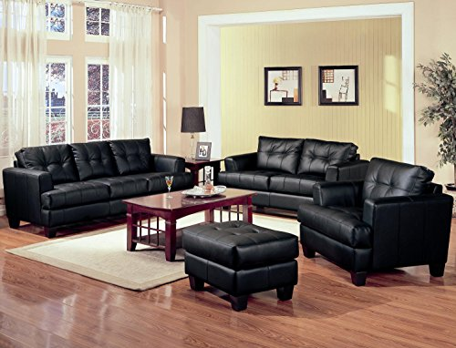 (Coaster Home Furnishings Samuel Living Room Set with Sofa, Love Seat, Chair, and Ottoman in Black Premium Bonded Leather)
